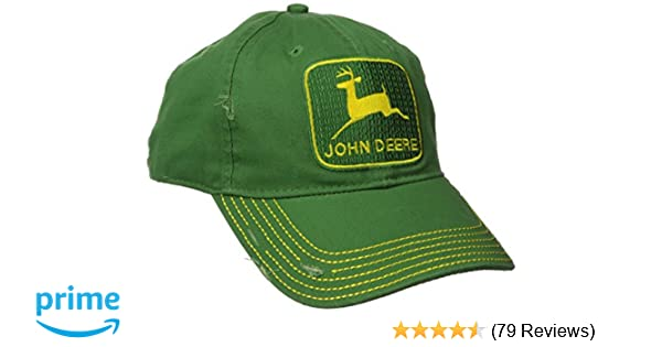 John Deere Embroidered Logo Vintage Baseball Hat - One-Size - Mens - John Deere Green at Amazon Mens Clothing store: