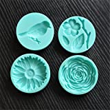 (US) Yunko Set of 4 Bird and Flower Mini Silicone Sugarcraft Mold Cupcake Decoration,Candy Fondant Chocolate Gum Paste Accessory Mould DIY Tools