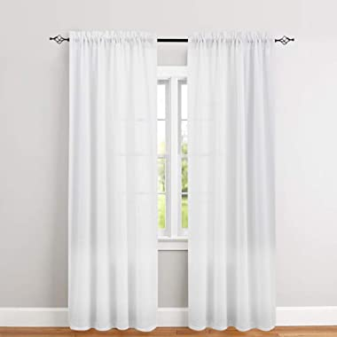 White Curtains 95 inch Rod Pocket Casual Weave Window Curtain Set for Bedroom Living Room 2 Panels