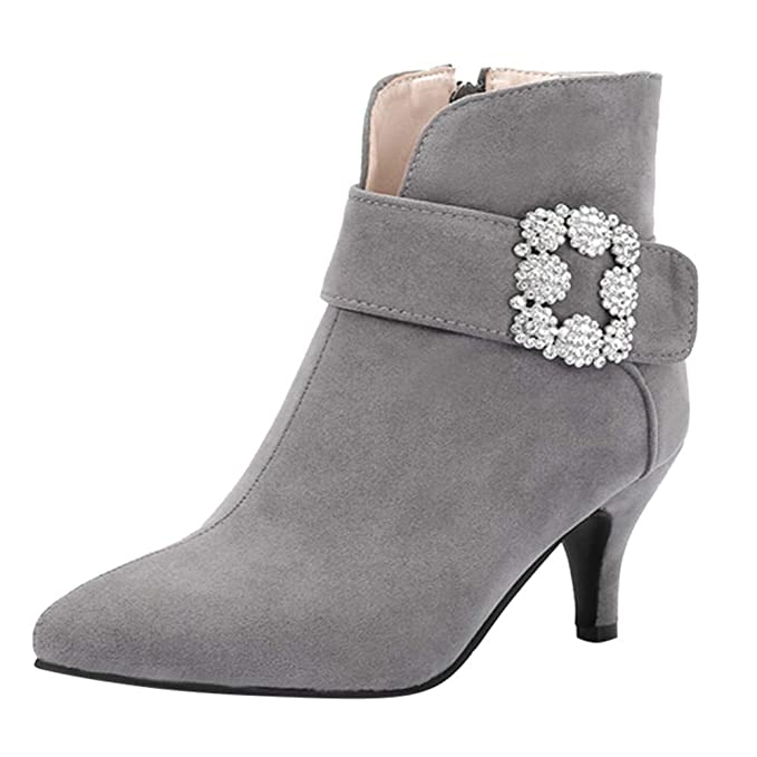 Amazon.com: Hunzed Women Shoes Fine-Knitted Suede Rhinestone Pointed high-Heeled Ankle Boots: Clothing