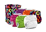 Rumparooz One Size Cloth Pocket Diaper, Snap - 6 Pack - Plus Exclusive Reusable Kanga Care Tote Bag- Jeweled