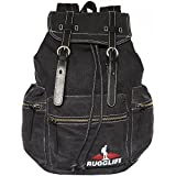 RUGGLIFE Vintage Canvas Backpack (Black) Leather Military Rucksack Hiking Daypack Casual