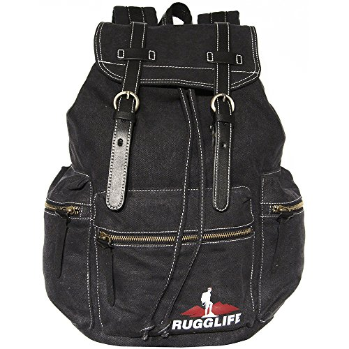 RUGGLIFE Vintage Canvas Backpack (Black) Leather Military Rucksack Hiking Daypack Casual by RUGGLIFE