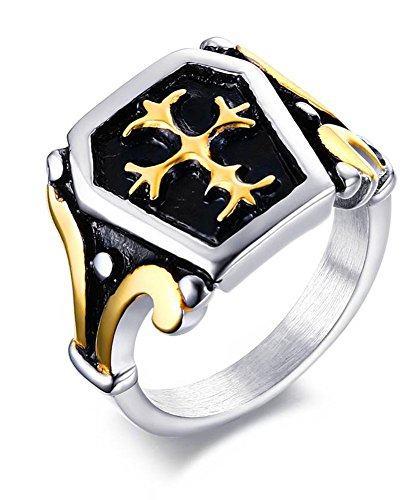 (XUANPAI Vintage 18K Gold Plated Stainless Steel Knight Fleur De Lis Cross Ring for Men,Size 11)