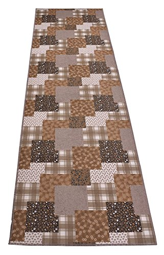 - Custom Size Runner Rug Nature Inspired Printed Roll Runner 26 Inch Wide x Your Length Choice Antibacterial Slip Skid Resistant TPR Backing (Patchwork Brown Taupe, 35 ft x 26 in)