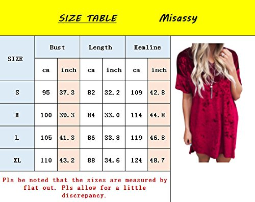 Tunic Dress Neck Casual Womens Crew Tops Velvet T Shirt Sleeve Misassy Crushed Grey Short Vintage Mini Loose Z4zxq1