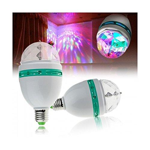 RGB LED bombilla de la lámpara 3W E27 giratoria juego multicolor disco light: Amazon.es: Iluminación