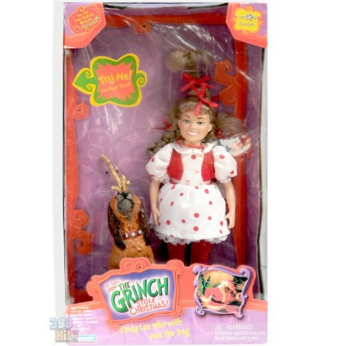Dr Seuss How the Grinch Stole Christmas Cindy Lou Who with Max the dog Toys R Us EXCLUSIVE (Toys R Us Stuffed Dog)