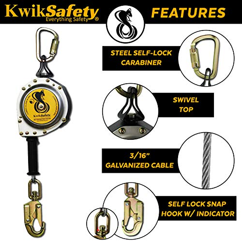 KwikSafety (Charlotte, NC) 20' COBRA Self Retracting Lifeline | Cable | ANSI Class B SRL w/Steel Carabiner Locking Clip Snap Hook | Roofing Construction Personal Fall Arrest Protection Safety Yoyo by KwikSafety (Image #4)
