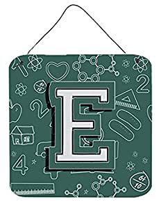 """Caroline's Treasures Letter E Back to School Initial with Wall or Door Hanging Prints, 6 x 6"""""""