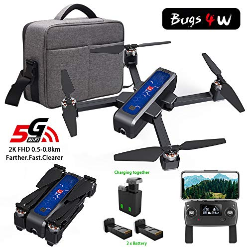 MOSTOP MJX B4W Drone 5G WiFi FPV Camera Drone B4W RC Quadcopter GPS Foldable Full HD 2K Video Record Altitude Hold Follow Me Double Charging App Remote Control 2 Battery (Blue Mjx B4W + Handbag)