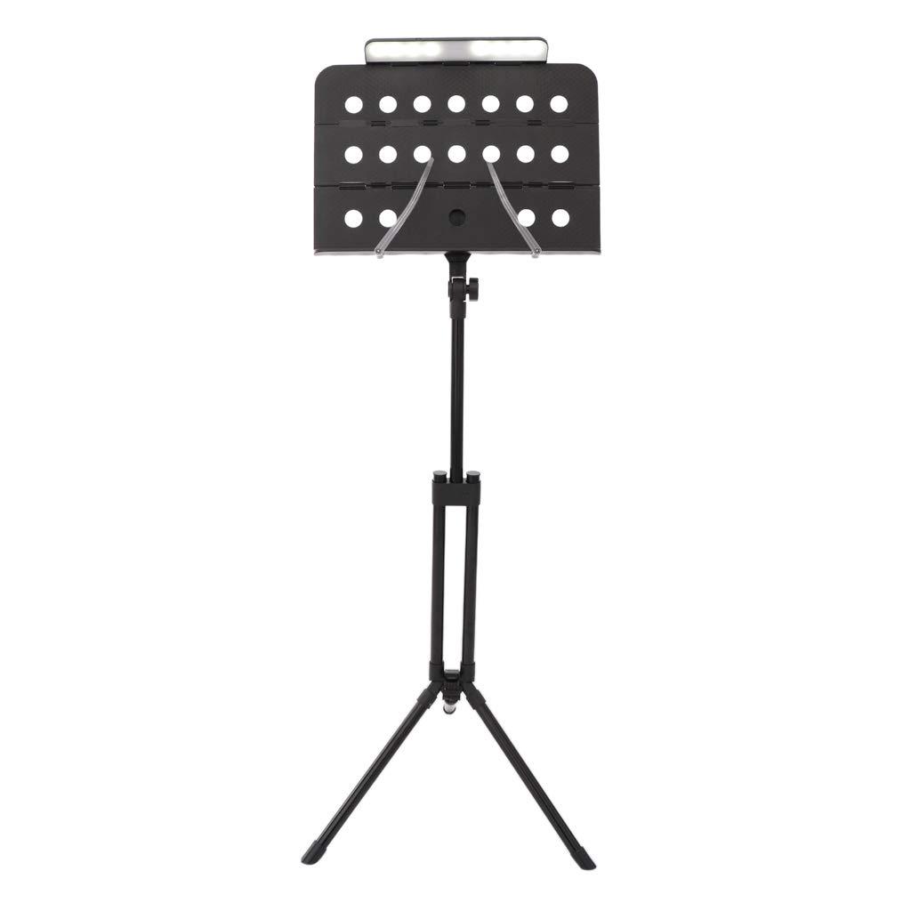 FLAMEER Faltbares Stativ Notenständer Musik Notenhalter Unterstützung Mit LED-Lampe