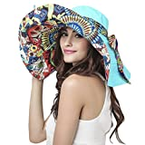 Womens Floral Travel Beach Sun Hat Visor Cap Ladies Summer Reversible Floppy Fishing Hat Large Wide Brim Beach Sun Bucket Hat Anti-UV Sun Protection Sun Hat Trucker Cap Holiday Sunshade Hat UPF 50+