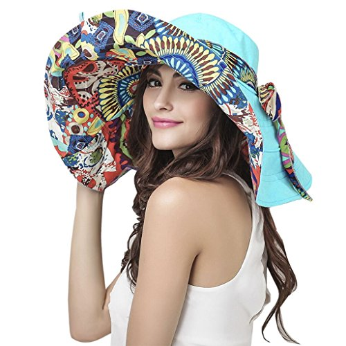 Womens Floral Travel Beach Sun Hat Visor Cap Ladies Summer Reversible Floppy Fishing Hat Large Wide Brim Beach Sun Bucket Hat Anti-UV Sun Protection Sun Hat Trucker Cap Holiday Sunshade Hat UPF 50+ (Reversible Hat)