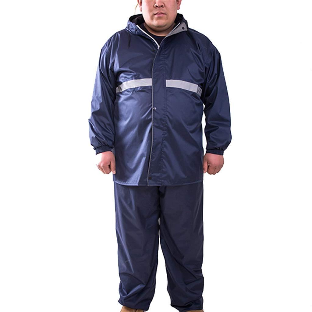 男性用レインスーツ肥料の追加再利用可能(レインジャケット&ズボンセット)レインコートフード付きレインウェアフィッシングアウトドアクライミング用 B07QF7NQNG #B XXXXXL