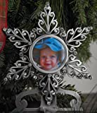5'' Pewter Star Photo Christmas Stocking Hanger with Austrian Crystals MADE IN USA