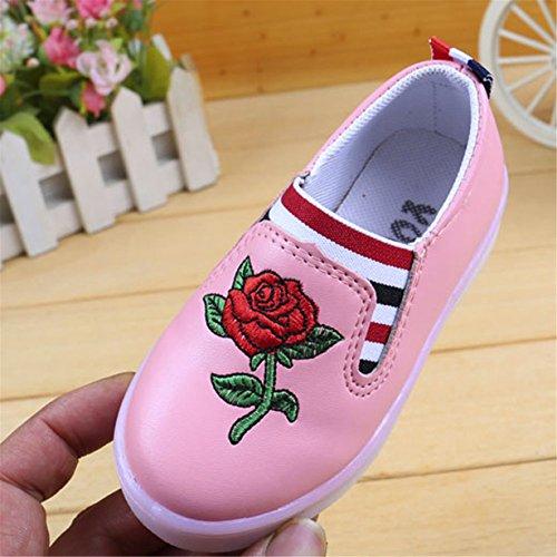 LED Luminoso Zapatos Niña,Longra ✿ Niños Zapatos Casual Zapatilla de Deporte de Bordado de Rosas de Los BebésZapatos Niña Vestir Baratos 50% de