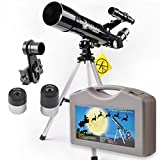 60 Refractor Telescope 60x360mm Monocular Scope for Beginners and Kids - With Tripod and 10mm Eyepiece Smartphone Adapter - Get the World Into Screen