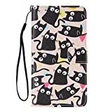 SZYT Phone Case for Samsung Galaxy Note 4, 5.7 inch, PU Leather Flip Cover with Handle, Numerous Black Cats