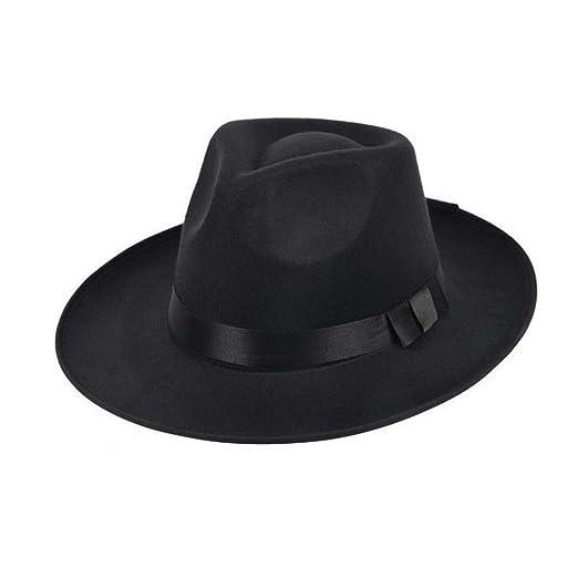 1fa5fc3c4c987 Unisex Felt Fedoras Hat Vintage Classic Manhattan Gangster Trilby Hats ( Black) at Amazon Men s Clothing store