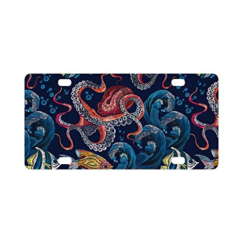 Classical Vanity (License Plate Cover Novelty Metal License Plate for Front of The Car Vanity Gifts 12 x 6 Inch - Classical Embroidery Red Octopus Underwater Wave with Fishes)