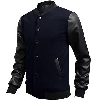 Kalanman Mens Fashion Splicing Leather Sleeve Letterman Jacket Varsity Baseball Bomber Jacket