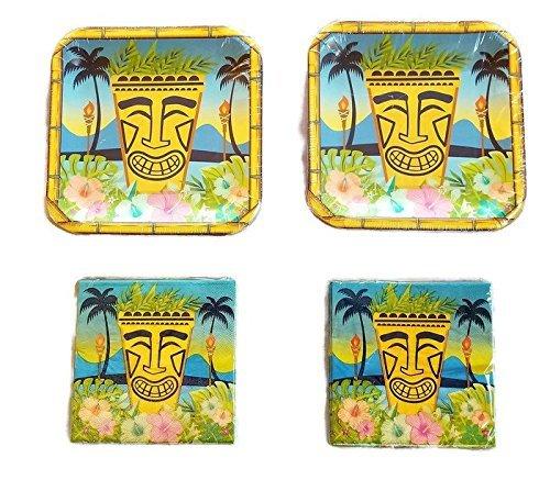Greenbrier Hawaiian Luau Party Plates (28) Napkins (40) Bundle