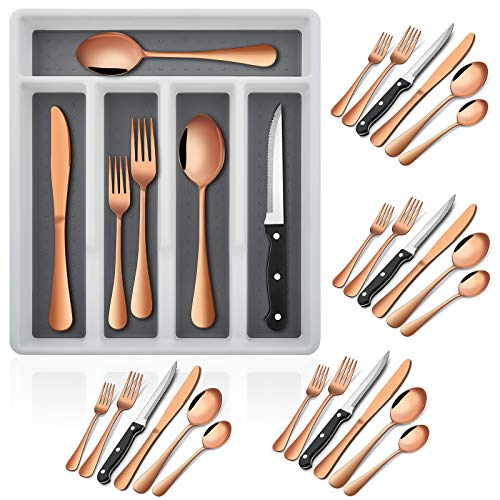 24-Piece Copper Silverware Set with Steak Knives and Organizer Tray, E-far Stainless Steel Flatware Cutlery Service for…