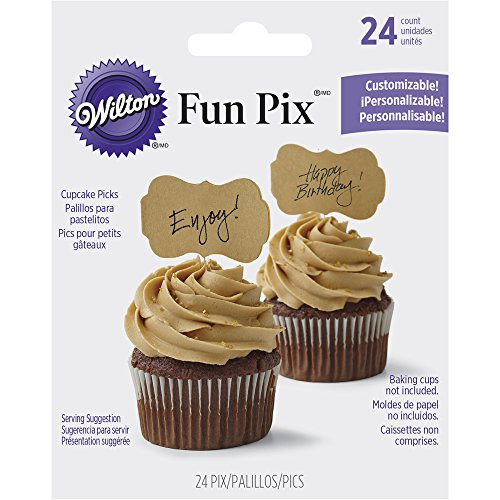Message Plaque - Wilton 2113-9362 Customizable Kraft Cupcake Toppers