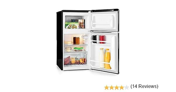 KLARSTEIN Monroe Black - Nevera con congelador, Retro, refrigerador de 61 l, congelador de 24 l, 2 estantes de Vidrio, 2 estantes en Las Puertas, 5 ...