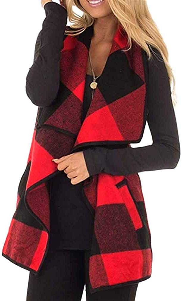 Lapel Open Plaid Vest for Women Sleeveless Outerwear Plaid Cardigans Coat Jacket with Pockets