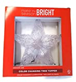 Clear Glass Look Light Up Sparkle Star Christmas Tree Topper By Home Elements NIB 11.5""