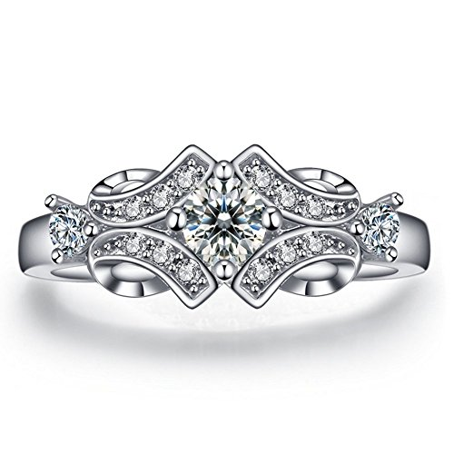 FENDINA Womens Shinning 18K White Gold Plated Vintage Solitaire Wedding Engagement Bands Rings