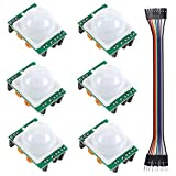 6 PCS HC-SR501 Pyroelectric Infrared PIR Adjustable Motion Sensor Module Detector for Arduino Raspberry Pi(Dupont Cable Included)