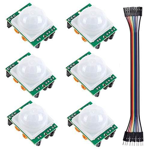6 PCS HC-SR501 Pyroelectric Infrared PIR Adjustable Motion Sensor Module Detector for Arduino Raspberry Pi(Dupont Cable Included) by IDEASPARK