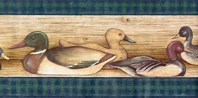 Ducks Lodge Hunting Birds Wallpaper Border - Green Plaid