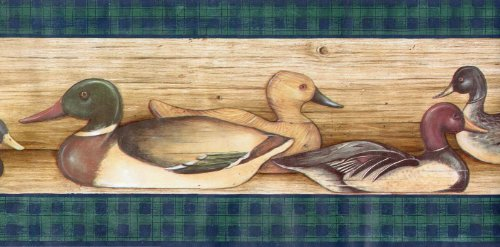 Plaid Wallpaper Border - Ducks Lodge Hunting Birds Wallpaper Border - Green Plaid