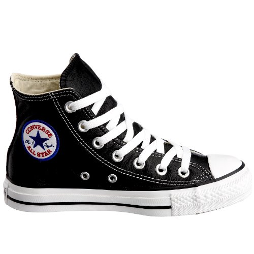 Converse Mens Chuck Taylor All Star In Pelle Alta Top Sneaker In Pelle Nera