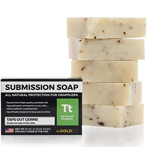 Premium Tea Tree Oil Soap - 100% All Natural USA Made Bars for BJJ, Jiu Jitsu, Wrestling, and Grappling - Combats Ringworm, Jock Itch, Athletes Foot, Acne, and more (5-Pack of 4 Ounce Soap Bars)