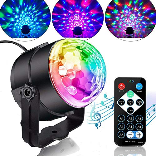Party Lights Sound Activated Disco Ball with Remote Control 9 Colors Disco Lights DJ Lights Wireless Phone Connection LED Stage Light for Kids Bedroom Wedding Party Birthday Christmas