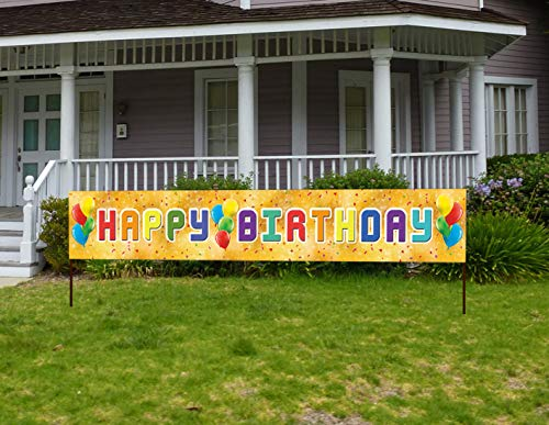Happy Bday Banners (Large Birthday Banner for Kids, Colorful Bday Party Sign, Multicolored Outdoor Yard Happy Bday)