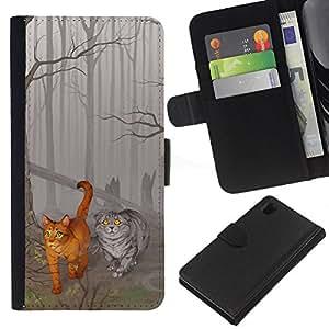Sony Xperia Z1 L39 C6902 C6903 C6906 C6916 C6943 , la tarjeta de Crédito Slots PU Funda de cuero Monedero caso cubierta de piel ( Cats Cute Drawing Fairytale Forest Grey Art)