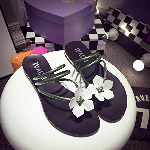 Tongs Douces HONG JIA Green Black Féminines Fleurs Plates 37 Explosions D'été Sandales Sandales D'été 40 Talon Sandales Plat zwrwSqd8x