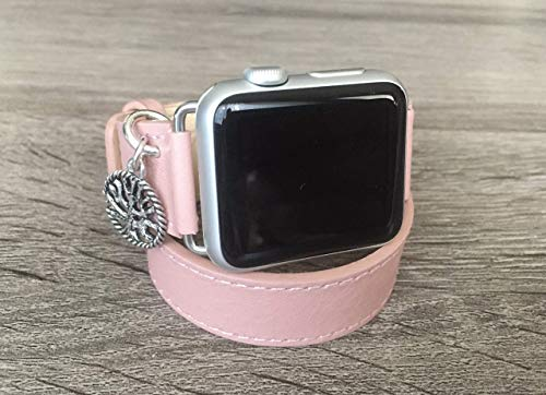 Vegan Leather Bracelet For Apple Watch All Series 38mm 40mm 42mm 44mm Handmade Double Wrap Pink Band Adjustable Size Apple iWatch Band Silver Jewelry Tree Of Life Spiritual Charm