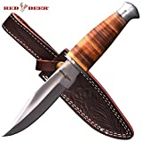Red Deer Leather Handle Hunting Knife with Hand Stitched Leather Sheath (Large)