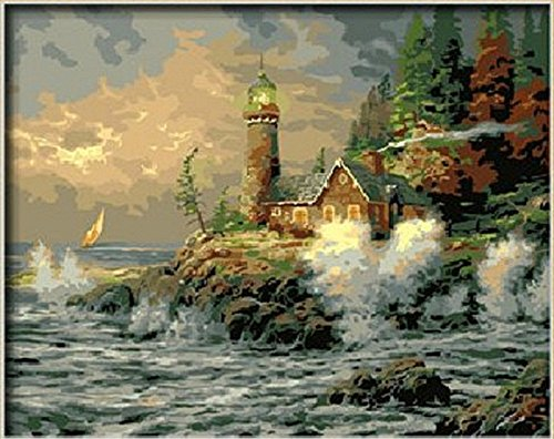 Courage by Thomas Kinkade-DIY Painting by number kit Frameless picture on wall acrylic unique gift 16x20 inch Lakeside house