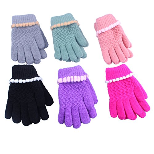 3 Pairs Toddler Kids Girl Mittens Winter Gloves Soft Imitation Wool Cashmere Knitted With Lining