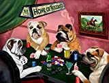 Home of Bulldogs 4 Dogs Playing Poker Art Portrait Print Woven Throw Sherpa Plush Fleece Blanket (54x38 Tapestry Throw)
