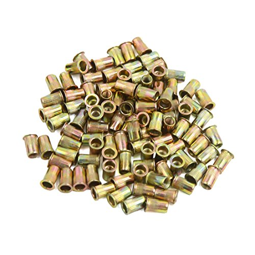 uxcell a16073000ux1888 M4 Bronze Tone Stainless Steel Metric Small Head Blind Rivet Nut Nutserts 100 Pcs, Pack