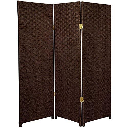 ORIENTAL FURNITURE 4 ft. Tall Woven Fiber Room Divider - Dark Mocha - 3 Panel